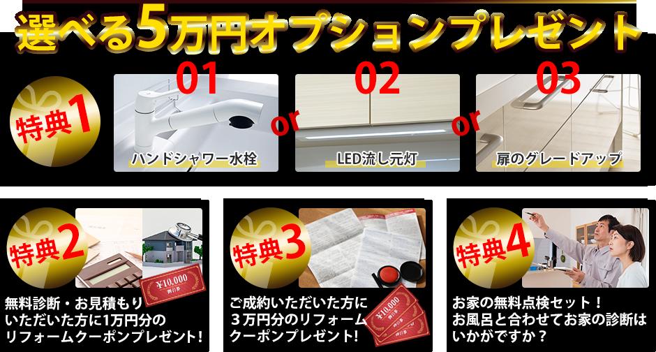 選べる5万円オプションプレゼント